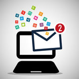 Laptop message email social media icons. Illustration eps 10 Royalty Free Stock Photo