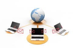 Laptop , messages around globe Stock Images