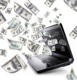Laptop met 100 Dollars Stock Afbeeldingen