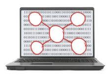 Laptop met abstracte binaire code en regeling stock afbeeldingen