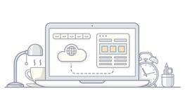 Laptop met alarm, schemerlamp, kop en potloden stock illustratie