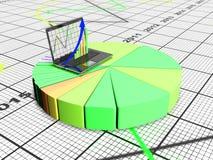 Laptop met bedrijfs of van de winstengroei 3d grafiek, geeft terug Stock Fotografie