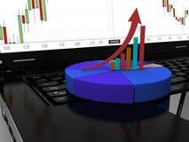 Laptop met bedrijfs of van de winstengroei 3d grafiek, geeft terug Royalty-vrije Stock Foto