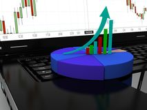 Laptop met bedrijfs of van de winstengroei 3d grafiek, geeft terug Stock Foto