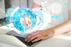 Laptop met cirkel digitaal patroon Royalty-vrije Stock Fotografie