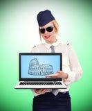 Laptop met coliseum stock afbeelding