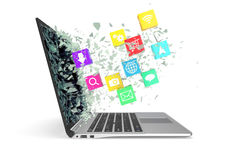 laptop met de pictogrammen van de kleurentoepassing 3D Illustratie Stock Afbeeldingen