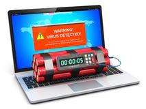 Laptop met de waarschuwingsbericht van de virusaanval en tijdopnemerbom Stock Foto