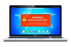 Laptop met de waarschuwingsbericht van de virusaanval op het scherm Royalty-vrije Stock Foto