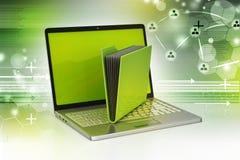 Laptop met dossieromslag Royalty-vrije Stock Afbeelding