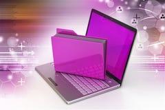 Laptop met dossieromslag Stock Fotografie