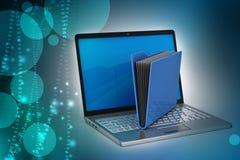 Laptop met dossieromslag Stock Foto