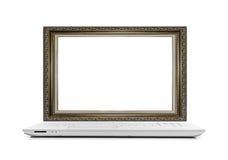 Laptop met een kader voor het beeld in plaats van de monitor Stock Foto's