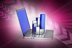 Laptop met financiële grafiek Stock Foto's