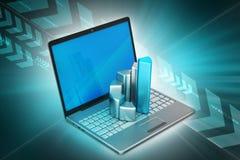 Laptop met financiële grafiek Royalty-vrije Stock Afbeelding
