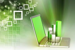 Laptop met financiële grafiek Royalty-vrije Stock Foto's