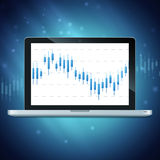 Laptop met forex grafiek op Desktop Stock Foto