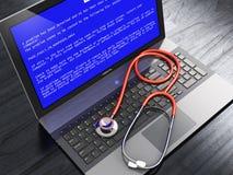 Laptop met het blauwe foutenscherm en stethoscoop Stock Afbeelding