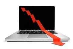 Laptop met het dalen grafiek Royalty-vrije Stock Afbeelding