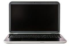 Laptop met het lege die scherm op witte achtergrond wordt geïsoleerd royalty-vrije stock afbeeldingen