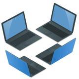 Laptop met het lege die scherm op witte achtergrond wordt geïsoleerd Laptop Stock Afbeelding