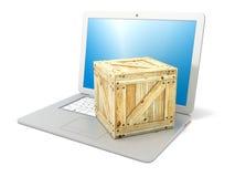 Laptop met houten doospakket Concept het online opdracht geven tot van producten Zachte nadruk 3d geef terug Stock Foto