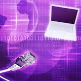 Laptop met kabel en aarde Stock Fotografie