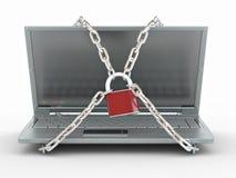 Laptop met kettingen en slot Stock Afbeeldingen