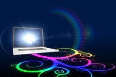 Laptop met kleurrijk spiraalvormig ontwerp Royalty-vrije Stock Afbeeldingen