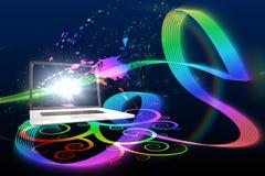 Laptop met kleurrijk spiraalvormig ontwerp Stock Foto