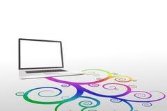 Laptop met kleurrijk spiraalvormig ontwerp Royalty-vrije Stock Foto's