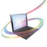 Laptop met kleurrijke abstracte werveling royalty-vrije illustratie