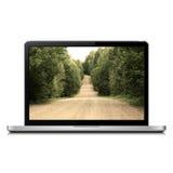 Laptop met landweg op het scherm Royalty-vrije Stock Afbeelding