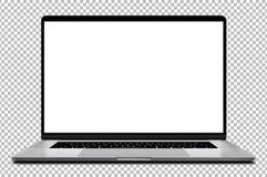 Laptop met lege het scherm zilveren die kleur op transparante achtergrond wordt geïsoleerd - hoog gedetailleerd super stock afbeelding