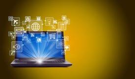Laptop met lightspot en pictogrammen Royalty-vrije Stock Afbeelding