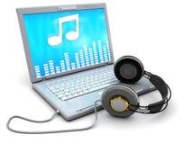 Laptop met muziek Stock Foto's