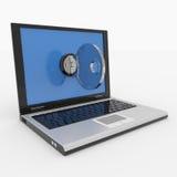 Laptop met slot en sleutel. Concept veiligheid. stock foto