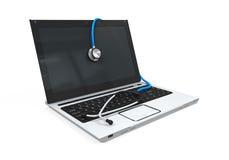 Laptop met stethoscoop Royalty-vrije Stock Fotografie