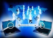 Laptop met vergrootglas Royalty-vrije Stock Afbeeldingen