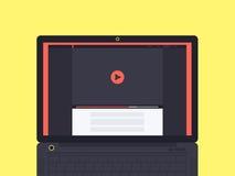 Laptop met videospelerinterface op het scherm Royalty-vrije Stock Foto