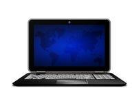 Laptop met wereldma het scherm over wit wordt geïsoleerd dat Royalty-vrije Stock Afbeelding