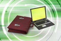 Laptop met zak Stock Foto