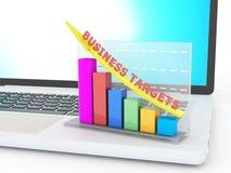 Laptop met zaken profiteert de groeigrafiek Stock Foto