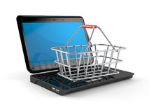 Laptop with metal basket. On white background Stock Photo
