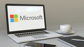 Laptop with Microsoft logo on the screen. Modern workplace conceptual editorial 3D rendering Stock Image