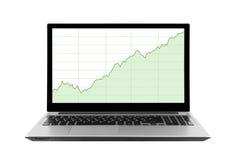 Laptop mit Aktienkurven Stockbilder