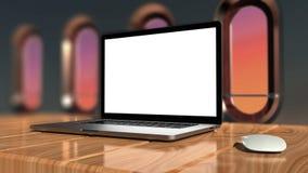 Laptop mit Aluminiumkörper des leeren Bildschirms und des Silbers Stockbild