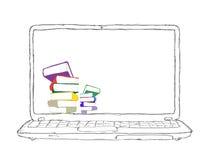 Laptop mit Büchern und unbelegter Bildschirmanzeige vektor abbildung