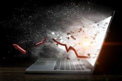 Laptop mit Blitz Gemischte Medien Stockbilder
