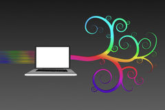 Laptop mit buntem gewundenem Design Stockfotografie